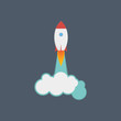 Image of a flat rocket for design. Flat design style concept icons for graphic and web design.