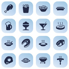 Set Of 16 Food Icons Set.Colle...