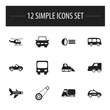 Set Of 12 Editable Shipment Icons. Includes Symbols Such As Tour Bus, Carriage, City Drive And More. Can Be Used For Web, Mobile, UI And Infographic Design.