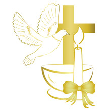 Gold Design For Sacrament Of Baptism Invitation, Card.