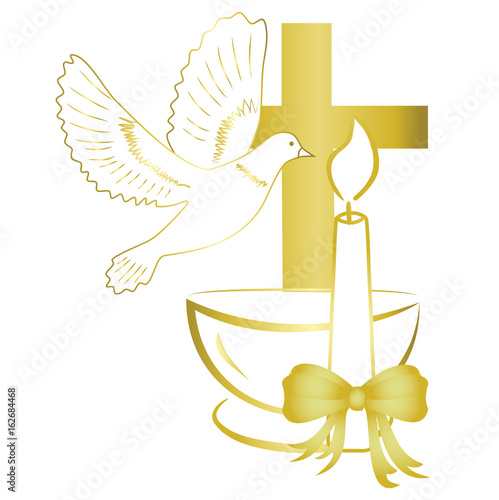 Leinwand Poster Gold design for sacrament of baptism invitation, card.
