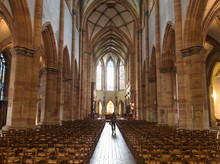 The Interiors Of The Gothic Cathedral Of Colmar, Alsace, France