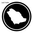 vector illustration white map of Saudi Arabia on black circle, isolated on white background