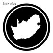 vector illustration white map of South Africa on black circle, isolated on white background