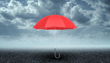 An Open Red Umbrella With A Bl...