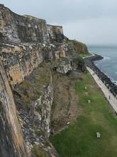 Strong Back Walls Of The El Morro Fort Facing The Ocean, Old San Juan, Puerto Rico
