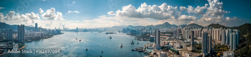 Panoramic view of Hong Kong city from sky on Lei Yue Mun