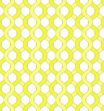 Isolated Yellow Net And Chain Seamless Pattern. Yellow Grid Pattern To Hide Object Visible Through It For Covers, Backgrounds, Banners, Textile, Wallpapers