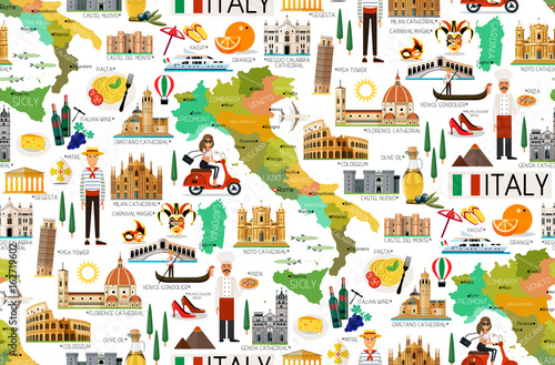 Italy Travel Pattern. Tablou Canvas
