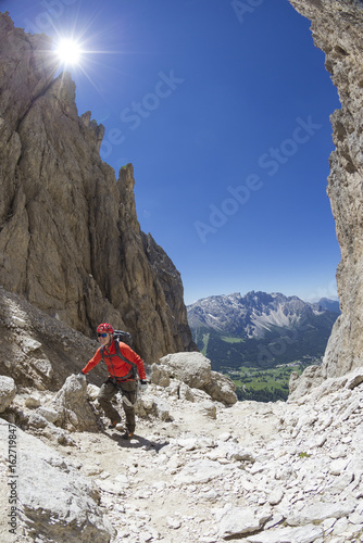 Foto op Plexiglas Alpinisme Bergsteiger im Rosengarten