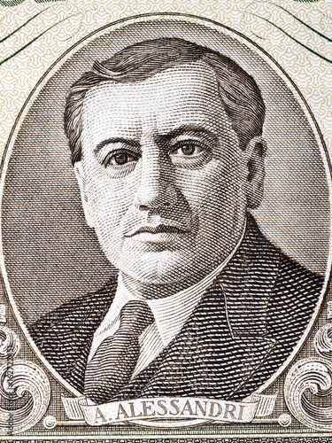 Arturo Fortunato Alessandri Palma portrait from Chilean money Canvas Print