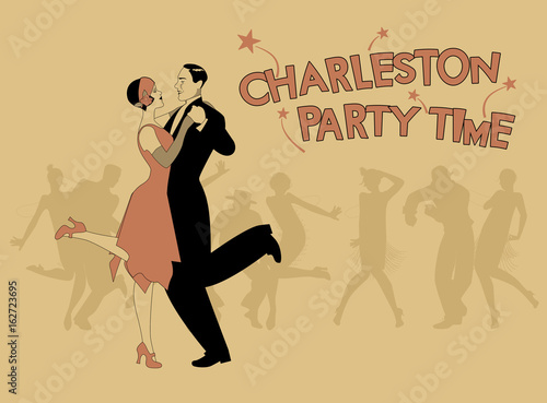 Canvas Print Elegant couple wearing 20's style clothes dancing charleston