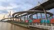 Time lapse of Dark cloud Storm over the Beautiful Big Bhumibol Bridge / Big bridge at the river