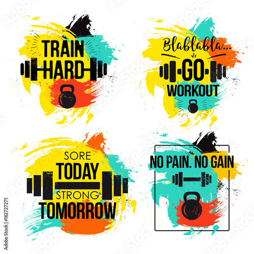 Fotografie, Tablou  Gym and fitness motivation quote set