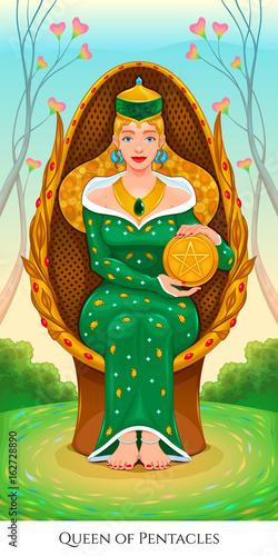 Staande foto Kinderkamer Queen of pentacles, tarot card