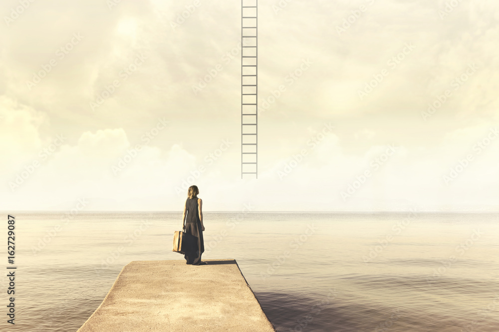 Fototapeta Indecisive woman does not know if climb up a staircase from the sky to a disenchanted destination