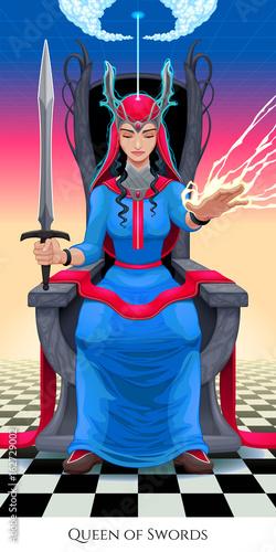 Staande foto Kinderkamer Queen of swords, tarot card