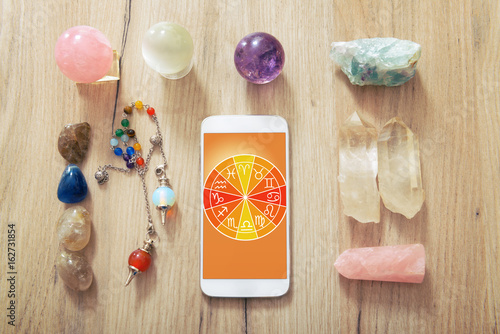 Modern astrology concept with mobile Canvas Print