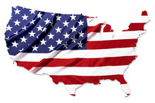American Flag Pattern In Country Map Shape On White With Clipping Path