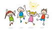 Strichfiguren Kinder bunt lachen