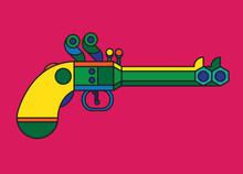 Vibrant Vintage Double Barrel Pistol