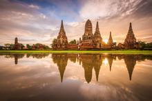 Ayutthaya, Thailand At Wat Cha...