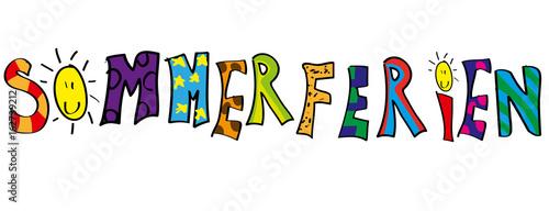 Sommerferien Kinderzeichnung Banner Schriftzug Vektor – Stock-Vektorgrafik  | Adobe Stock