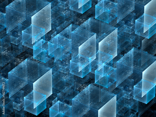 Chaos cubes background - abstract fractal computer-generated 3D illustration.