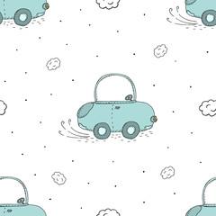 Tapeta seamless pattern with retro cartoon car. vector print.