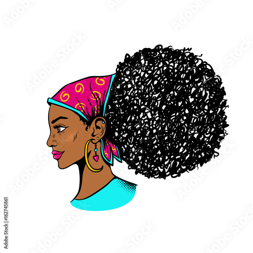 Afro American Female Face Sexy Young Black Woman Profile With Afro