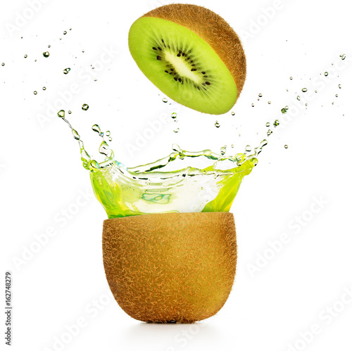 green juice exploding out of a kiwi