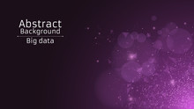 Abstract Polygonal Background From Connected Triangles And Dots. Modern Technologies In Design. The Luminous Particles Are Purple In The Dark. Side View