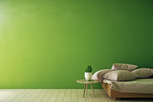 Interior With Empty Green Wall
