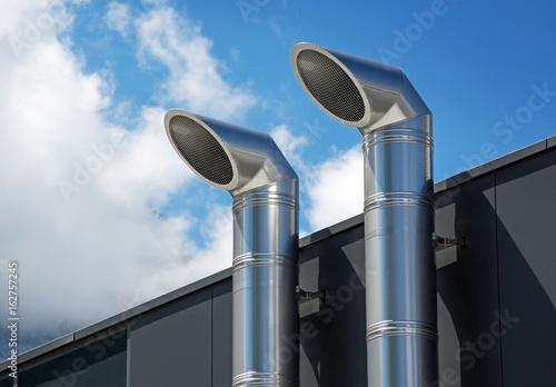 Fotografie, Obraz Lüftungsrohre aus Edelstahl –Lüftungstechnik Kältetechnik Klimatechnik