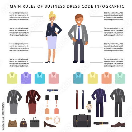 45b3727d21d9 Business dress code infographics. People in formal clothes and shoes ...