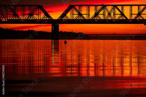 Fototapeta Bridge at sunset. Yaroslavl, Russia.