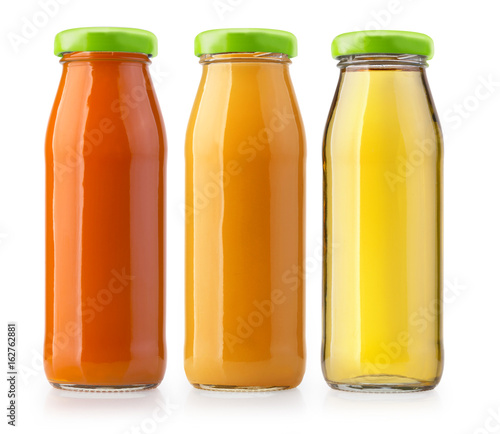 Poster Sap orange juice bottles isolated
