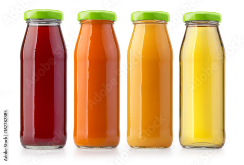 Staande foto Sap orange juice bottles isolated