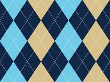 Blue Beige Argyle Seamless Pat...