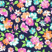 Colorful Flower Mix On Navy Ba...