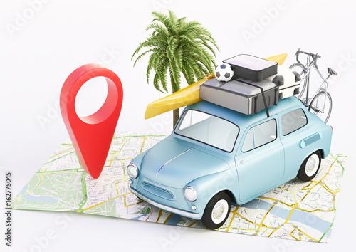 Vacanze, carta geografica con automobile in viaggio, render 3d Billede på lærred