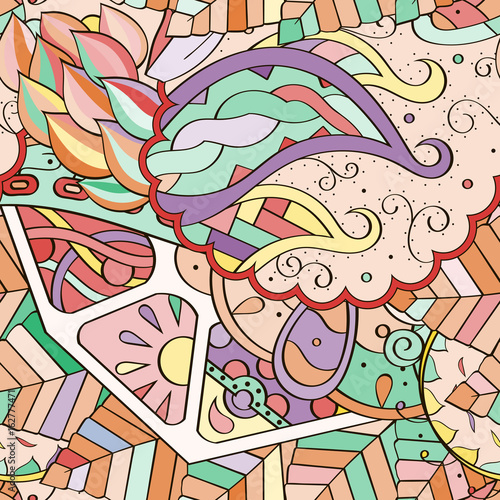 Keuken foto achterwand Vlinders in Grunge Tracery seamless pattern. Mehndi design. Ethnic colorful doodle texture. Curved doodling background. Vector