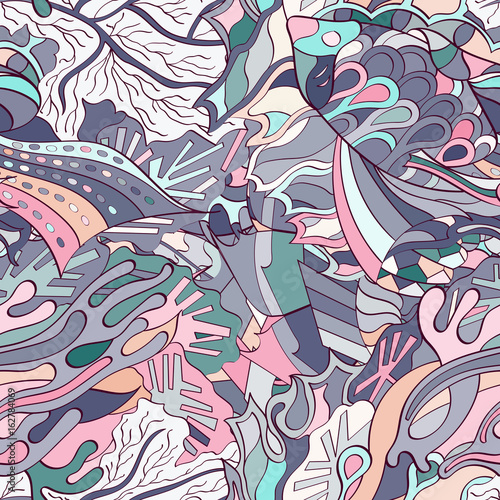 Foto auf AluDibond Graffiti Tracery seamless pattern. Mehndi design. Ethnic colorful doodle texture. Curved doodling background. Vector