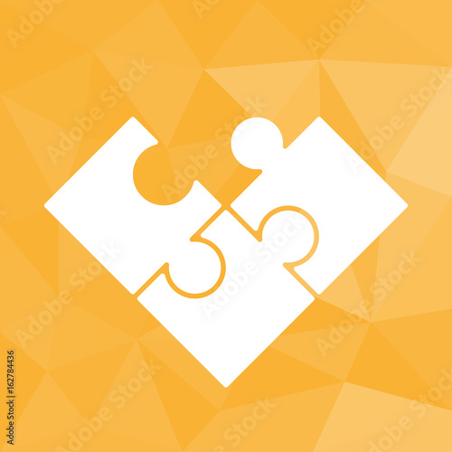 Puzzle - Icon mit geometrischem Hintergrund gelb Wallpaper Mural