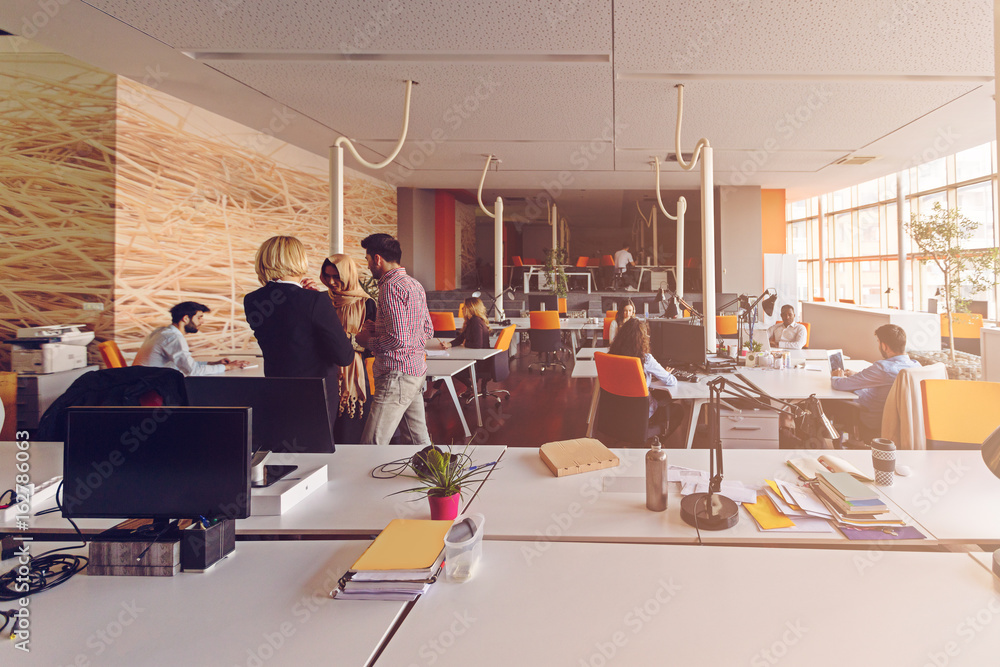 Fototapeta startup business people group working everyday job at modern office
