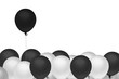 black balloon outstanding from other on white background