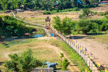 Landscape Bamboo Bridge. Place Name Sutongpe Bridge.in Mae Hong Son Province The Northern Of Thailand.