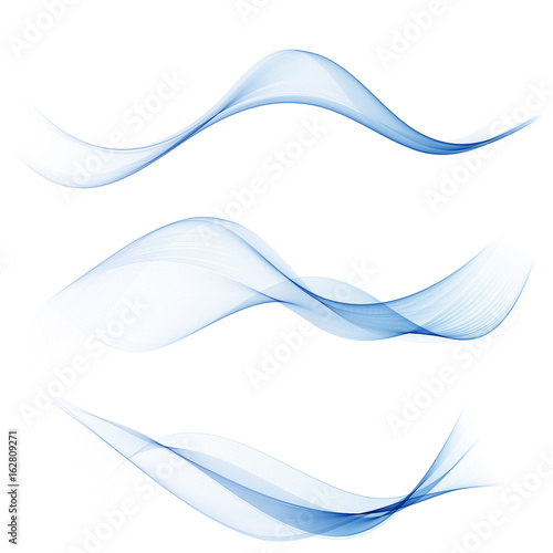 Spoed Foto op Canvas Abstract wave set abstract wave smoke transparent smooth vector blue lines