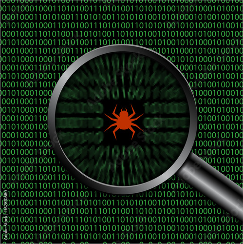 Fotografía  Found computer virus under a magnifying glass a vector illustration