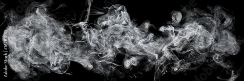 Staande foto Rook white smoke isolated on black